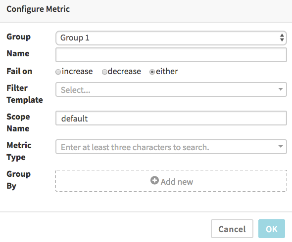 Stackdriver Metric Dialog